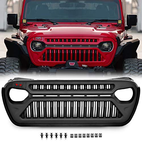 TOPFIRE Front Grille Replacement for 2018-2021 Jeep Wrangler JL JLU Unlimited Rubicon Sahara...