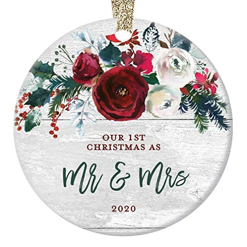 Rustic Mr & Mrs Ornament 2020 First 1st Christmas Married Bridal Shower Gift Newlyweds Bride Groom Farmhouse Ceramic Keepsake Present 3' Flat Circle Porcelain with Gold Ribbon & Free Box