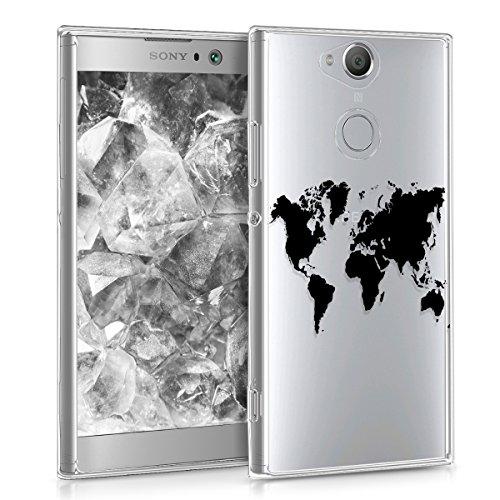 kwmobile Funda Compatible con Sony Xperia XA2 - Carcasa de TPU y Mapa del Mundo en Negro/Transparente