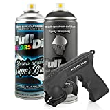 AutoFullCar - Pack Full Dip Bicicleta - 2 Spray (Color + Barniz Protector) - Vinilo Líquido FullDip - Cuadro Ruedas Bicicleta | Mountain Bike MTB (Negro, Brillo)