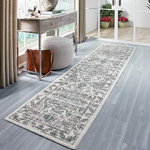 Maples Rugs Distressed Tapestry Vintage Non Slip Runner Rug For Hallway Entry Way Floor Carpet [Made in USA], 2'6 x 10, Neutral