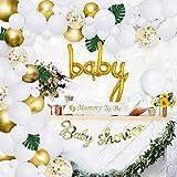 Baby Shower Balloon Garland Arch Kit blanco y dorado 105 Pack Mummy to Be Sash, Baby Shower Balloon Banner Decoration Set para Boy Girl Birthday Party