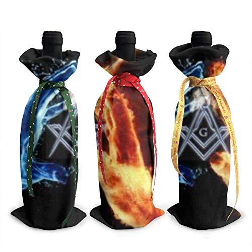 3 Stück Weinflaschenabdeckung Freimaurer-Logo quadratisch und Kompass Dekoration Abdeckung Taschen Tischdekoration für Weihnachten Party Abendessen Dekoration Geschenk