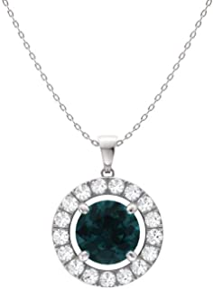 Natural and Certified Gemstone and Diamond Halo Petite Necklace in 14k White Gold | 0.61 Carat Pendant with Chain