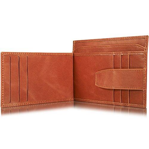 KAVAJ Leder Geldbörse Portemonnaie Munich mit Münzfach RFID Schutz Cognac-Braun Kleiner dünner Geldbeutel Brieftasche Portmonee aus Echtleder mit Kleingeldfach und Reißverschluss für Damen und Herren