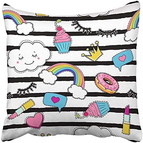 Cojín decorativo Poliéster Colorido Abstracto Lindo con parches de moda Arcoíris Donuts Cupcakes Insignia de animal blanco Dos lados Funda de almohada decorativa con estampado cuadrado para el hogar