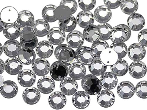 Allstarco 8mm Flat Back Sew On Rhinestones Beads for Crafts Plastic Acrylic Round Gems with Holes for Sewing, Clothing Embelishments, Costume Cosplays Crystal Clear H102-75 Pieces