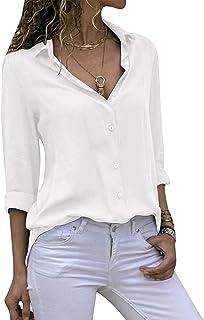 7378b47e1 Decai Camisa Mujeres Blusa Casual Cuello V Camiseta Túnica Color Puro Camisa  de Gasa Mangas Largas