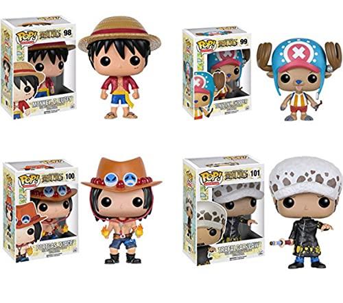 4 Pièces Figurine Pop One Piece # 98 Luffy # 99 Chopper # 100 Ace # 101 Loi Anime Vinyle Action Modèle Collection Jouets Enfants Cadeaux d'anniversaire 10 Cm