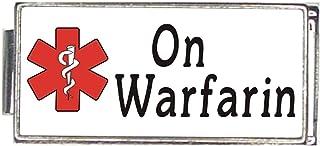 On Warfarin White Medical Alert Italian Charm Superlink Bracelet Jewelry Link