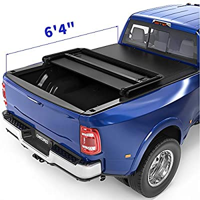 oEdRo Tri-Fold Truck Bed Tonneau Cover Compatible with 2002-2021 Dodge Ram 1500; 2003-2021 Dodge Ram 2500 3500, Fleetside 6.4 Feet Bed (for Models Without Ram Box)
