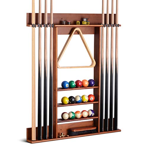 XCSOURCE Billiard Cue Rack, Wall Mounted Wooden Pool Cue Rack, 8 Holes for Billiard Cues, 5-Layer Platform Can Hold Balls, Chalk, Brushes,etc. Cue Stick Holder Suitable for Billiard Room.