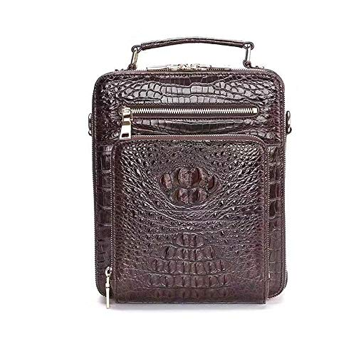 Men Briefcase,Crocodile Leather Vertical Office Business Bag