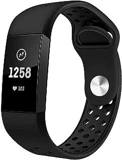 Haotop バンド コンパチブル 適応 Fitbit Charge3/ 3 SE,シリカゲルバンド スポーツシリコンストラップリストバンド交換バンド柔らか運動型 (Small, 黒)