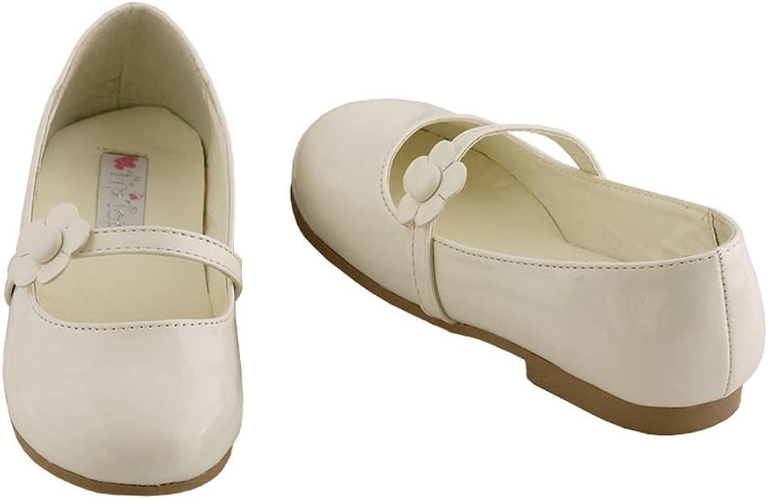 Girls Dress Shoes White or Ivory Flower