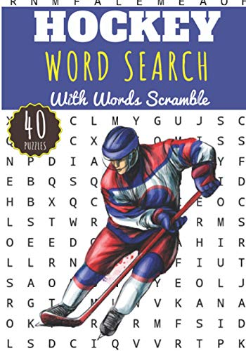 Hockey Word Search: Ice Hockey Word Search With 40 puzzles | Challenging Puzzle Brain book For Adults and Kids | More than 300 words about Ice Hockey ... and Ice Rink, Shuffleboard and Lacrosse.