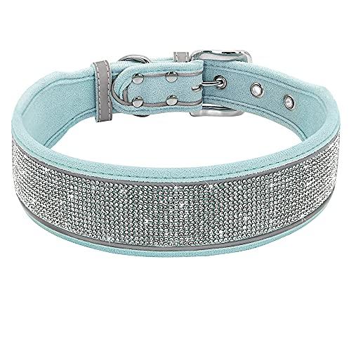 ZMJYH Collar De Perro, Cuello De Perro Reflectante Amplio Bling Rhinestone Collar De Mascotas Perros Suaves Collares Collares para Pequeños Perros Grandes Pitbull,Azul,30~39cm