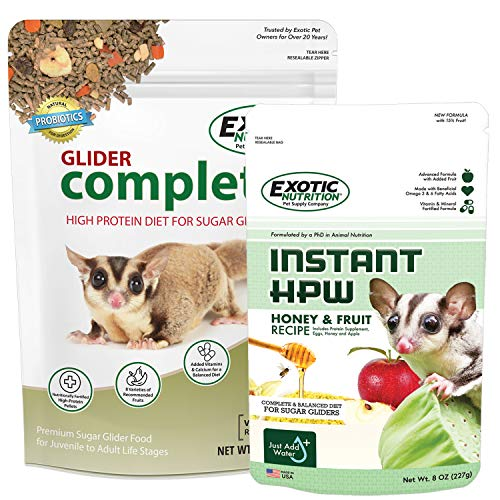 Glider Complete Food Starter Package - Nutritionally Complete Pellet Diet & High Protein Supplemental Food for Sugar Gliders