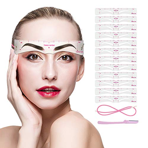 Eyebrow Stencils, 12PCS Eyebrow Shaper Kit, Reusable Eyebrow Template with Strap, Eyebrow Razor,3 Minutes Makeup Tools For A Variety of Face (black)
