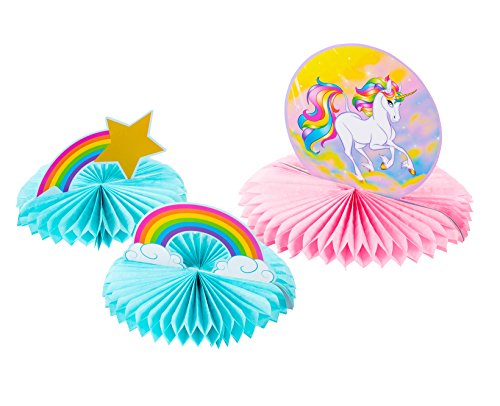 Unicorn Party Decoration - 3-Piece Rainbow Unicorn Honeycomb Decoration Centerpiece, Kids Birthday Party Supplies for Girls, Pink and Blue