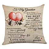 onederful Throw Pillow Cover with The Saying for Grandson from Grandpa,Birthday Christmas Ideas for Grandson - to My Grandson