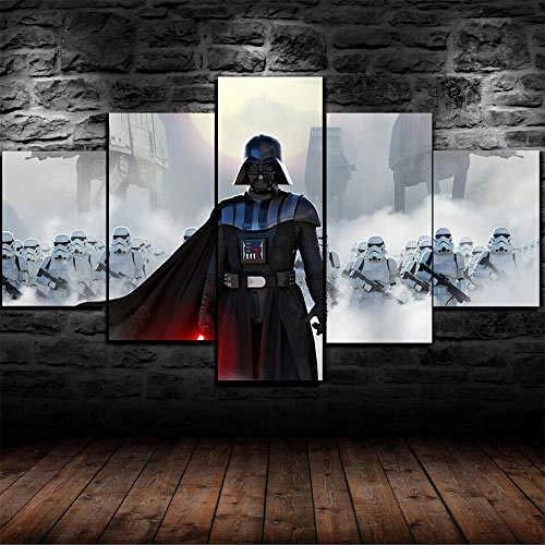 Pintura Sobre Lienzo 5 Piezas Cuadro Sobre Lienzo-Modernos Mural-Impresión En Lienzo-Listo Para Colgar-Decoración Hogar Arte Cuadro En Lienzo Regalo Navidad Star Wars Darth Vader Stormtroopers 200X100