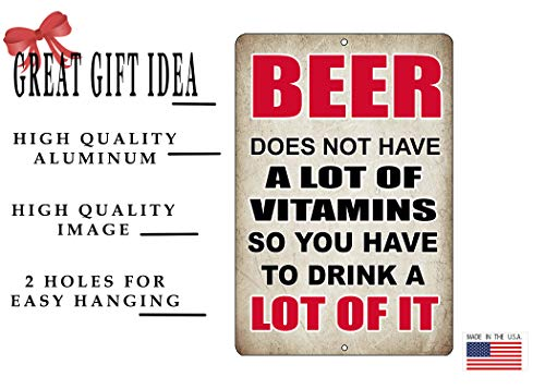 Rogue River Tactical Funny Beer Alcohol Sign Metal Tin Sign Home Bar Kitchen Beer Vitamins
