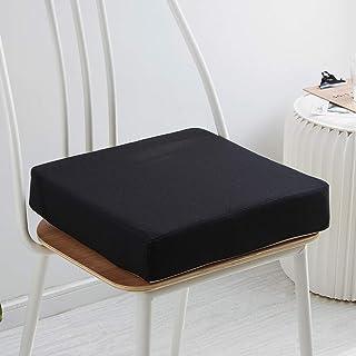 SJQ Cojín de sofá para Silla de jardín Cojín de Asiento ultragrueso para Uso en Interiores y Exteriores -Funda lavable-40/45 / 50cm-Cojín de cojín para Asiento de jardín elevador-Negro-50x50x8cm
