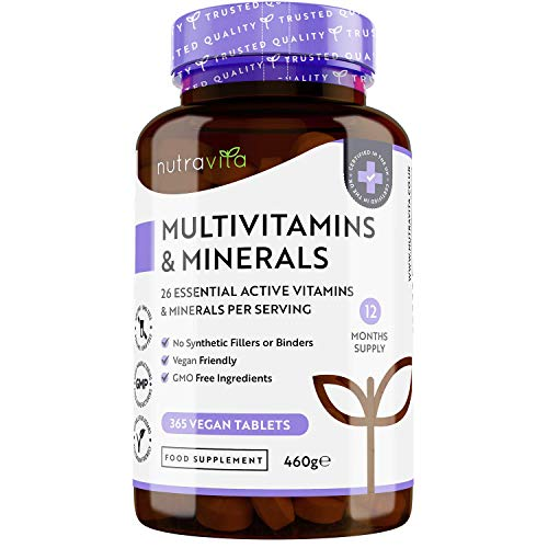 Multivitamins & Minerals - 365 Vegan Multivitamin Tablets - 1 Year Supply - Multivitamin Tablets for Men and Women with 26 Essential Active Vitamins & Minerals - Made in The UK by Nutravita