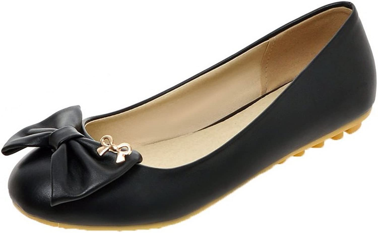 WeiPoot Women's Round-Toe Low-Heels PU Pull-On Solid Pumps-shoes