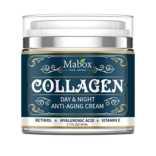 Colágeno Crema por Cara Día Y Noche Retinol Hidratantes con Hialurónico Ácido Vitamina C Mejorar Piel Textura Brillo Hidratante Aumentar Colágeno Aumentador de Presión Fácil para Usar / 50ML / AS