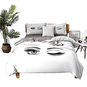 DRAGON VINES 4pcs Bedding Set King Size Sheets Double Bed Home Textile Cartoon Style Dramatic Woman Eyes with Long Lashes Winking Flirting Gesture Lilac Grey Black Environmental Printing