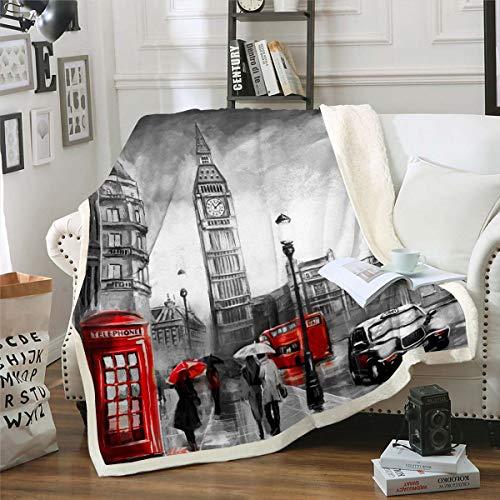 Famosa manta de sherpa para cabina de teléfono, con símbolos de Big Ben, manta de felpa para niños y niñas, paisaje urbano de Londres, decoración vintage para sofá cama, bebé 76 x 100 cm