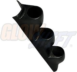 GlowShift Universal Black Triple Pillar Gauge Pod - Fits Any Make/Model - ABS Plastic - Mounts (3) 2-1/16