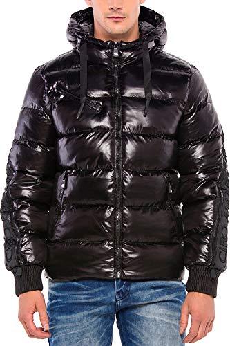 Cipo & Baxx Herren Steppjacke Jacke Winterjacke Kapuzenjacke Daunen Jacke Outerwear Reißverschluss Jacke Schwarz M