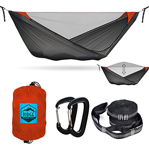 Ridge Outdoor Gear 11ft Camping Hammock with Mosquito Net - Pinnacle 180 Ultralight Hammock Tent Bundle with Bug Netting, Straps, and Carabiners Half-Zip Style