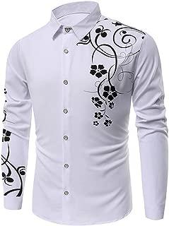KLGDA Mens Long Sleeve Slim Fit Casual Printed Button Down Dress Shirt Quick Dry UV Protection Hiking Fishing Shirts