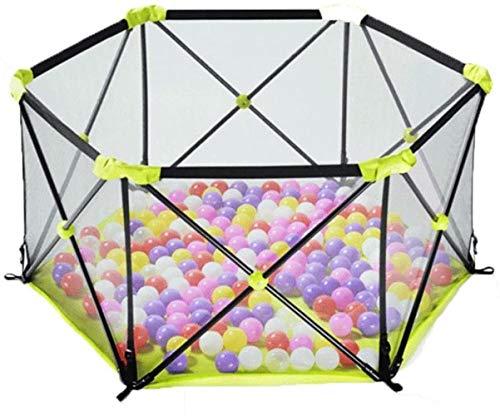 WYH Lustiges Laufgitter für Babys, Grün, Polygonal, zusammenklappbar, Kinderschutz, Zaun, Laufstall, waschbar, tragbar mit Kissen