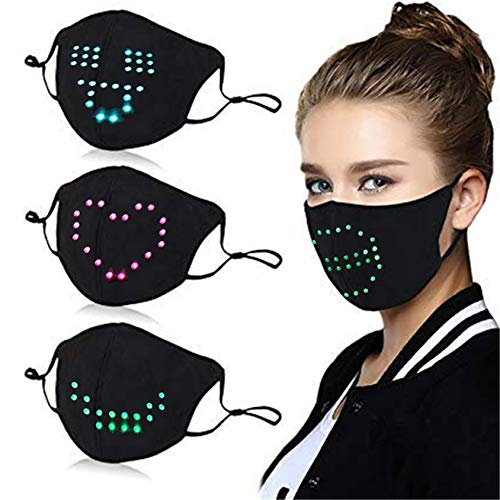 Voice-activated LED Face_Mask, Smart Voice Control, Sound Reactive, 6 Patterns RGB Holiday Party Rave_Mask - Black