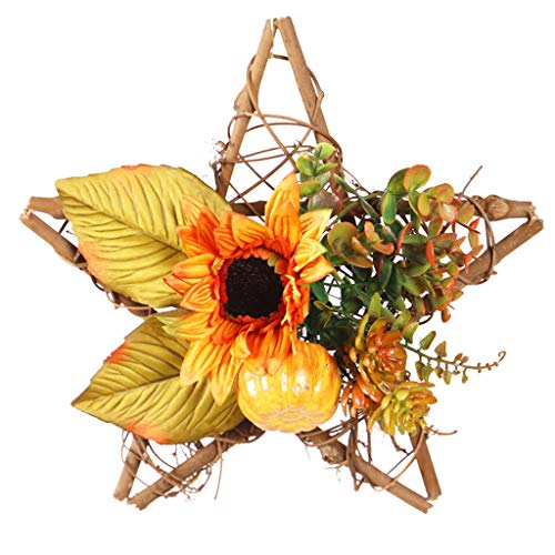 Boping Wooden Sunflower Pumpkin Fall Thanksgiving Wreaths for Front Door Wooden Five-Star Decorative Wreath for Thanksgiving Halloween Wall Hanging Wedding Party Decor(1Pc 9.8 inch)