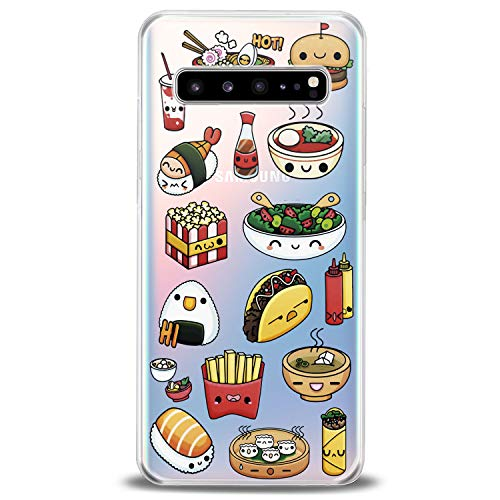 Cavka TPU Cover for Samsung Galaxy Case S20 Note 10 Plus 5G S10e S9 S8 S7 Sushi Soft Cute Kawaii Cute Girls Junk Slim fit Taco Clear French Print Fast Design Flexible Silicone Lightweight Food Fries