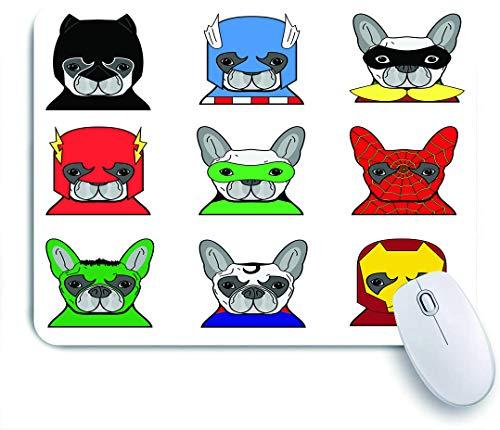 COFEIYISI Superhroe Bulldog Superhroes Divertidos Cachorros de Dibujos Animados disfrazados Disfraz de Perros con mscaras,Alfombrilla Raton Alfombrilla Gaming Alfombrilla para computadora