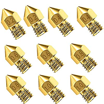 10PCS Cr-10 Nozzle, Upgrade Wear Resistant MK8 Nozzles, Brass 3D Extruder Nozzle for 3D Printer Makerbot Creality CR-10 (0.2 mm, 0.4mm, 0.6mm, 0.8mm, 1mm)