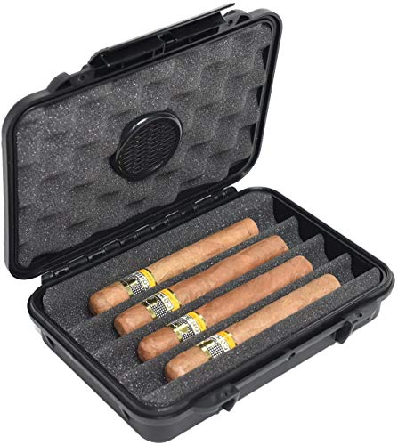Travel Cigar Humidor Carrier Box Double Clamp Protection Crush Proof Water Proof Air Tight Luxury Portable Cigar Case for 5 Cigars Humidor Cigar Box Outdoor Indoor