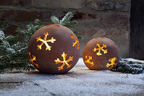 Dekoleidenschaft Garten-Kugel Schneeflocke aus Terracotta, klein, Ø 17 cm, Rosenkugel, Teelichthalter