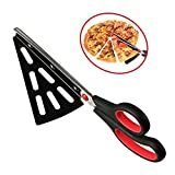 flintronic Kitchen Pizzaschere Scharfen Klingen, Pizzaschneider mit Pizzaheber Edelstahl, Pizza-Schere/Pizzamesser - Rot