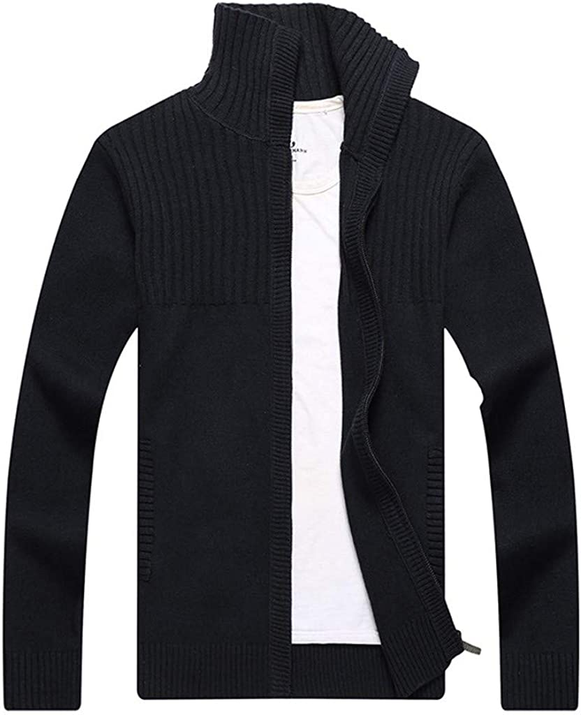 ✷ HebeTop ✷ Men's Casual Autumn Stand Collar Full Zip Up Knitted Cardigan Sweater