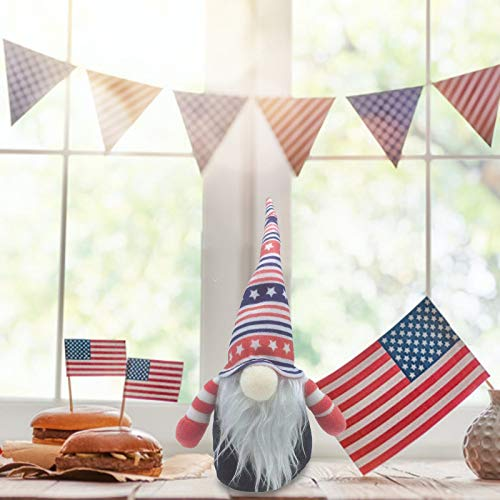 Ruidada 1PC Easter Patriotic Gnome Plush Election Decoration Living Room Desktop Decoration - Patriotic Veterans Day Plush Gnome Doll American Heart Hat Toy