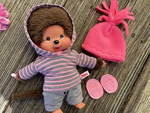 Puppenkleidung handmade für MONCHICHI Gr. 20 cm Bekleidung Kapuzenshirt Hoodie Winterset 4-teilig pink + flanellgrau Kleidung Puppenkleidung