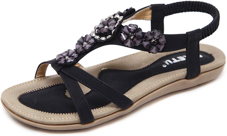 York Zhu Flat Sandals for Women Beaded Flower Gladiator Flat Dress Sandals for Women